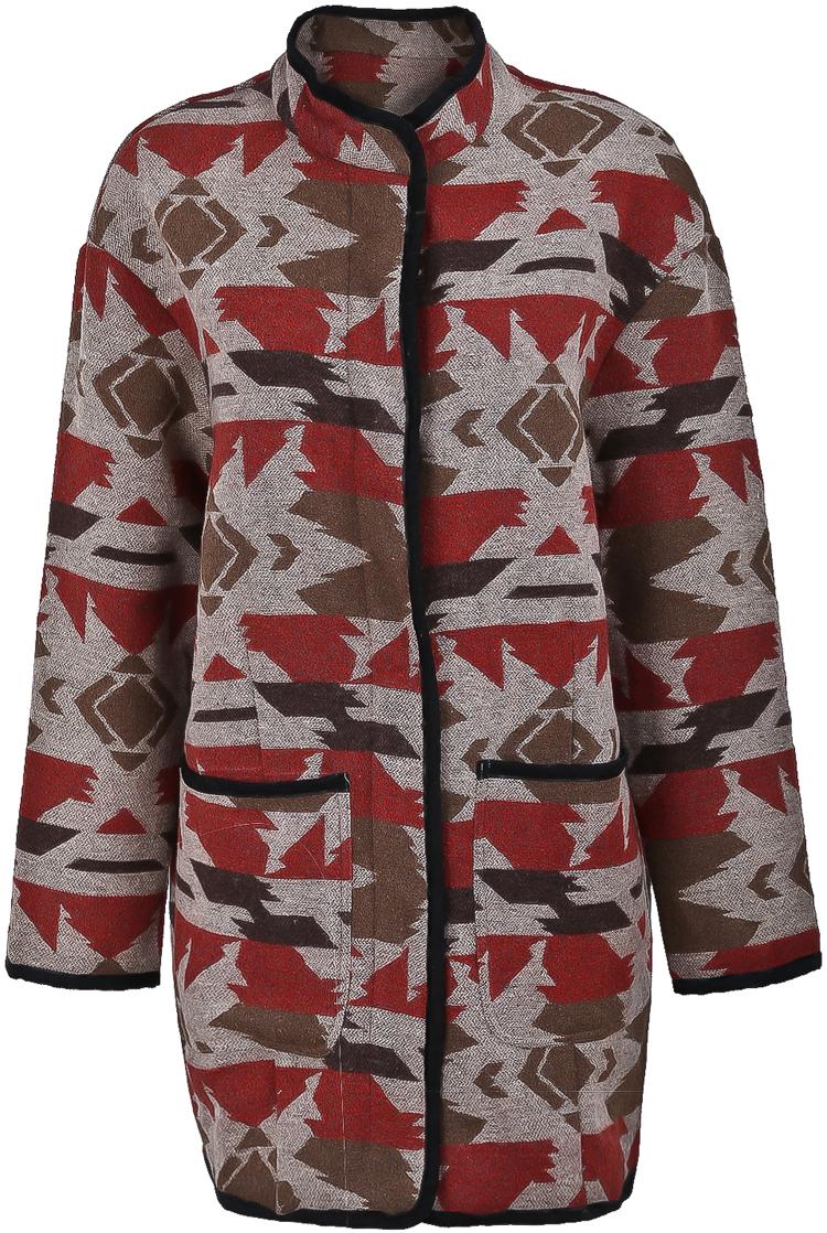 Abrigo de lana collar geométrico-Naranja