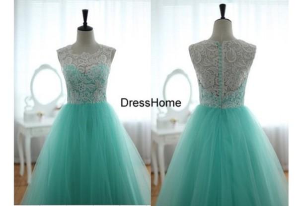 dress, white and blue prom dress, lace homecoming dresses, aqua blue ...