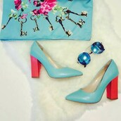 shoes,high heels,wide heels,medium heels,blue,blue shoes,pink,dress,office outfits,casual,pumps,stilettos,pointed toe
