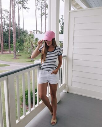 shoes carrie forbes cap sandals flats shorts denim shorts white shorts t-shirt stripes striped top pink baseball hat