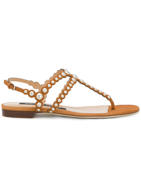 Sergio Rossi studded women sandals studded sandals leather suede brown shoes