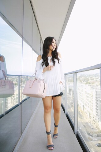 hautepinkpretty blogger jewels top bag jeans shorts shoes sandals high heel sandals handbag pink bag