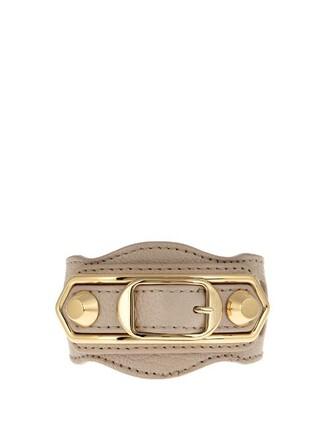 metallic classic leather beige jewels