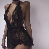 underwear,lace,lace lingerie,black,home accessory,skirt,romper,lingerie,lace romper,sexy lace underwear,pajamas,sexy lingerie,sexy,jumpsuit,black playsuit,black lace playsuit,black see thru outfit
