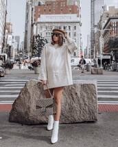 shoes,boots,white boots,high heels boots,mini dress,sweater dress,handbag,cap,aviator sunglasses