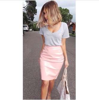 vinyl pink skirt