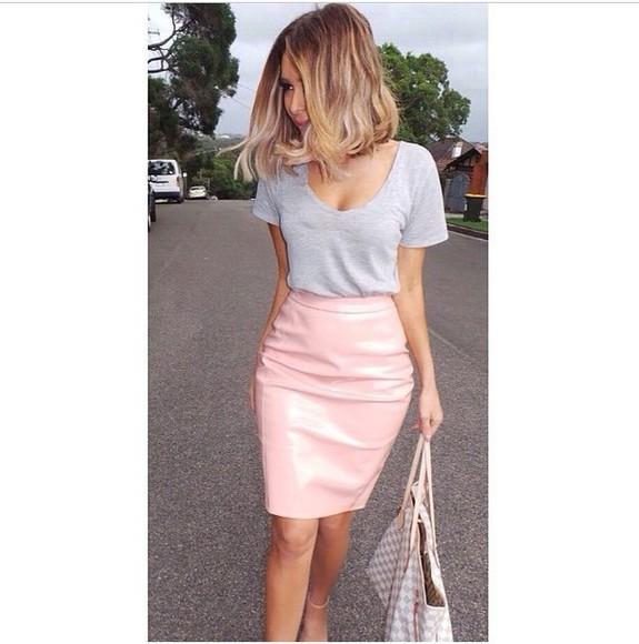 pink skirt vinyl