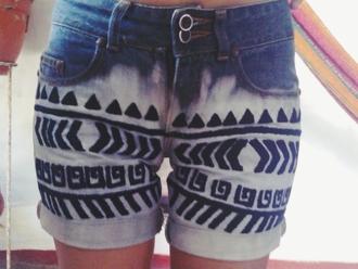shorts tribal pattern handmade fashion acid-wash