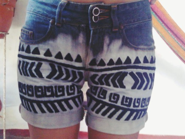 shorts tribal pattern handmade fashion acid wash