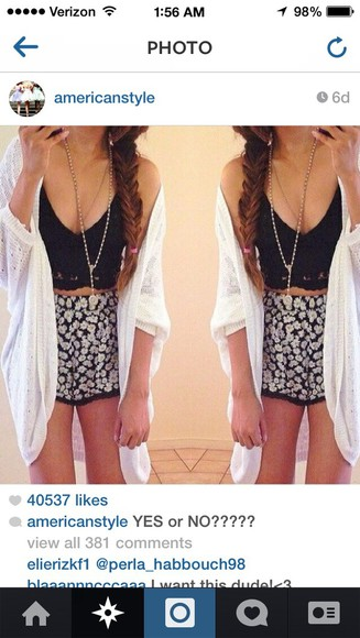shorts white lace cute floral black crochet crochet shorts tank top crop tops bralette bustier black crop top cardigan floral shorts jewels necklace crochet crop top lace crochet pom pom shorts