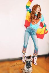 jeans,bella thorne,boots,instagram,top,t-shirt,cardigan,colorful,shoes