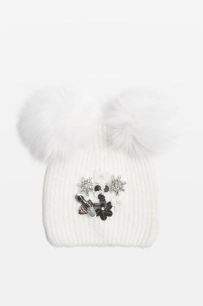 Topshop beanie cream hat