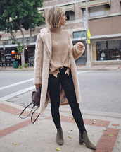 coat,tumblr,fuzzy coat,teddy bear coat,denim,jeans,black jeans,boots,ankle boots,grey boots,sweater,turtleneck,turtleneck sweater,knit,knitwear,knitted sweater