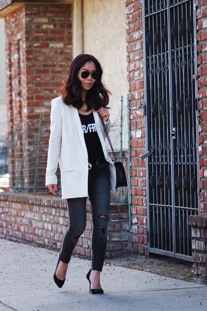 hallie daily t-shirt jeans bag shoes sunglasses belt