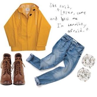 coat mustard rain coat indie