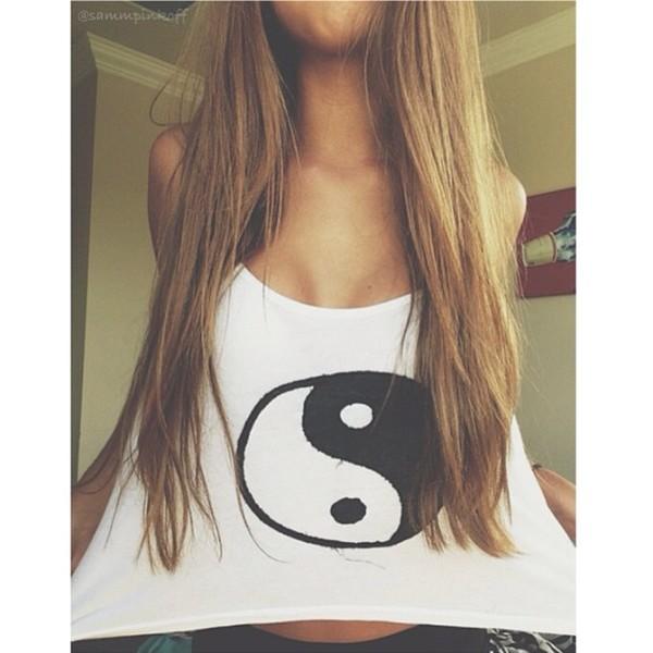tank top yin yang top t-shirt white top graphic top icifashion ici fashion yin yang shirt yin yang tshirt yin yang top black and white tank top