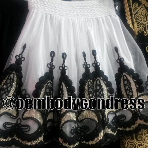 shirt skirt lace skirt flower skirt embroidered  skirt
