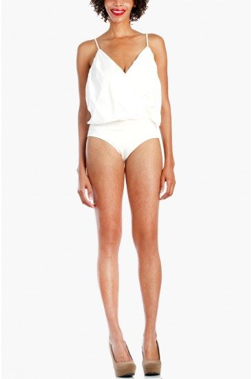 LoveMelrose.com From Harry & Molly | Spaghetti Deep V Neck Bodysuit - White