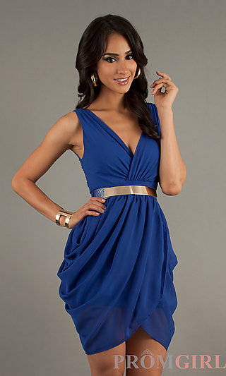 Short Sleeveless V-Neck Party Dresses, Cocktail Dresses- PromGirl