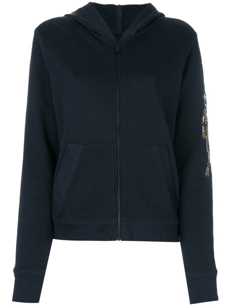 Zadig & Voltaire hoodie embroidered women cotton blue sweater