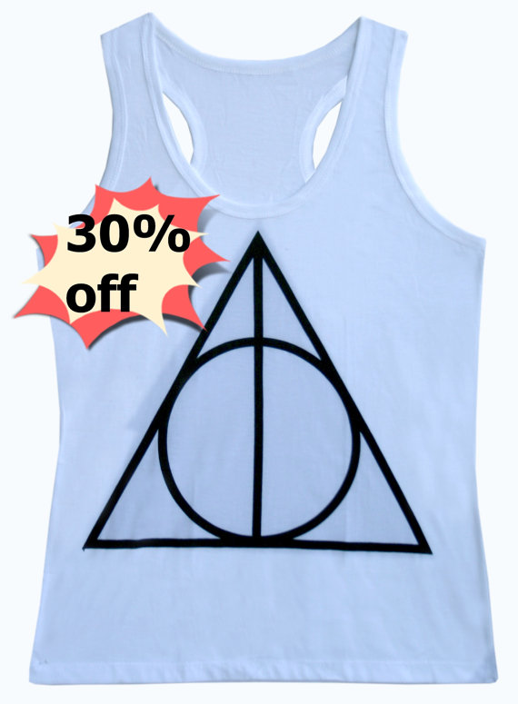 Triangle tank top graphic shirt size s,m,l,xl white color women tops harry potter tank sleeveless top
