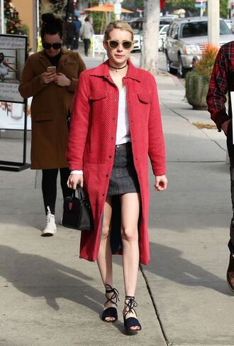 coat skirt mini skirt emma roberts sandals fall outfits choker necklace shoes jewels