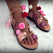 shoes,marbe unique,bohemian,marbe,boho,boho chic,leather sandal,glitter sandal,pom pom sandal,lace up sandal,greek sandal,gipsy style,ethnic,hipster