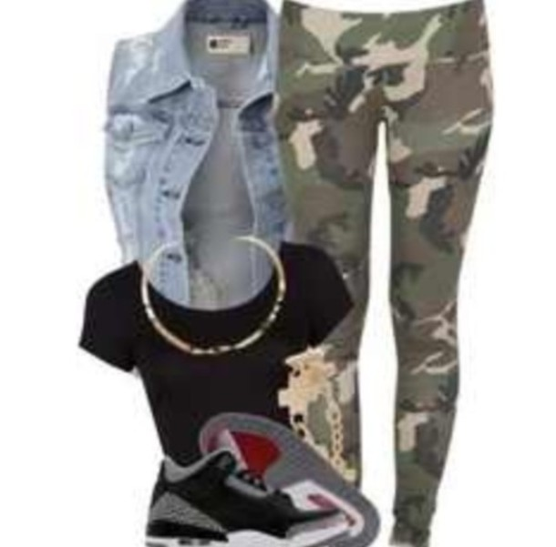 jacket shoes jordans leggings camouflage vest crop tops black top jewels jean jackets camo pants black crop top gold chain cross bracelet