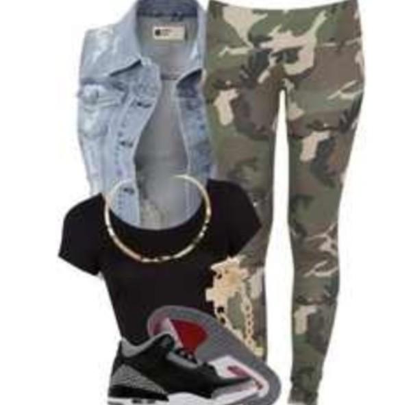 jacket shoes jordans leggings camouflage vest crop tops black top jewels jean jackets camo pants black crop top gold chain cross bracelet