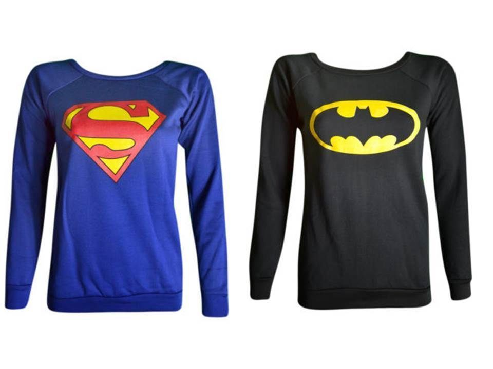 Womens Ladies Superman Batmansuperwoman Print Sweatshirt Jumper Pullover Top Siz | eBay