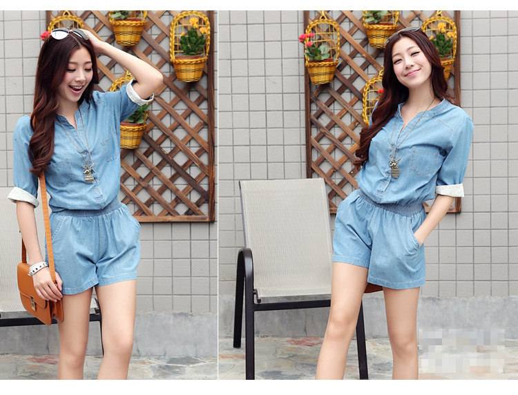 Brand New Women Denim Jumpsuit Water Wash One Piece Overall Shorts