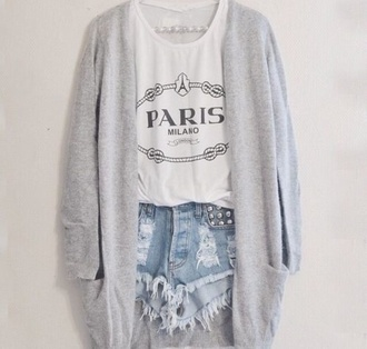 paris white tank top graphic tee distressed denim shorts ripped shorts grey cardigan studs denim shorts cute outfits outfit spring outfits summer outfits