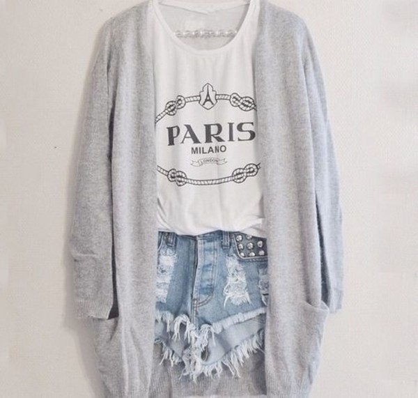 paris white tank top graphic tee distressed denim shorts ripped shorts grey cardigan studs denim shorts cute outfits outfit spring outfits summer outfits top blanc cardigan grey blouse