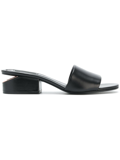 Alexander Wang women mules leather black shoes