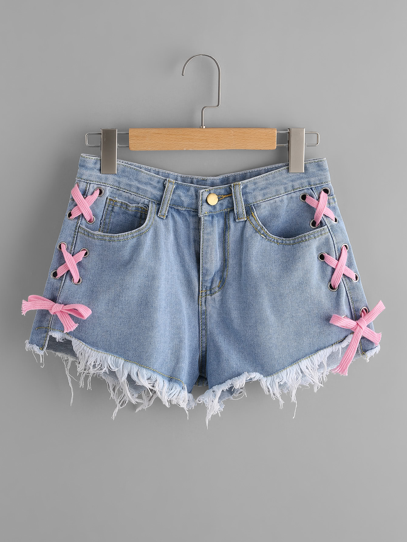 18241f739f Lace Up Side Frayed Hem Denim Shorts -SheIn(Sheinside)