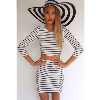 skirt crop tops hat bodycon dress blouse stripes striped shirt striped skirt floppy hat