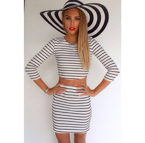 hat floppy hat blouse stripes striped shirt striped skirt bodycon crop tops skirt