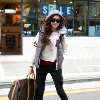 YESSTYLE Australia: PIPPIN- Contrast-Trim Padded Vest - Free Express Shipping on orders over AU$150