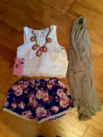 shorts flowered shorts charlotte russe cardigan shirt jewels