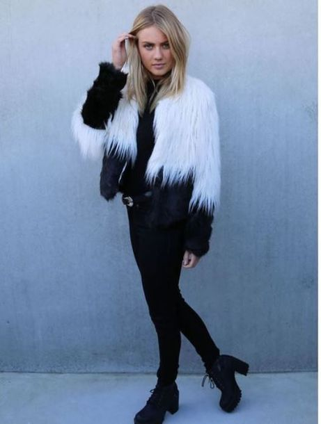 Coat: black and white jacket, cropped jacket, black and white faux ...