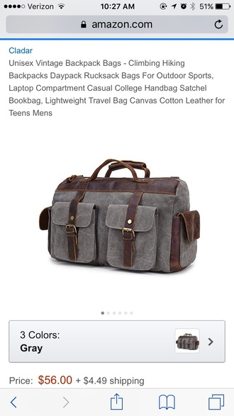 bag leather canvas duffel