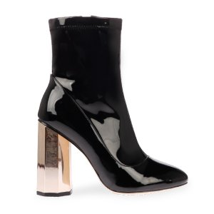 Laura Angled Heel Ankle Boot In Black Patent