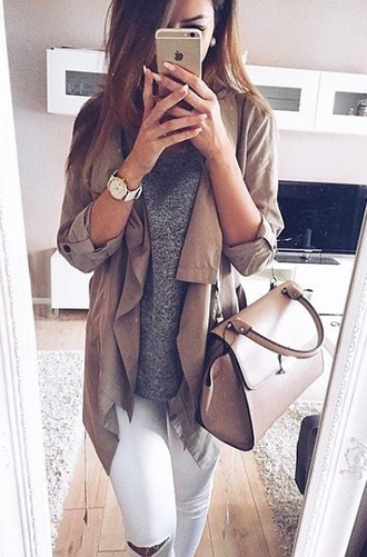 bag handbag coat top nude jacket outerwear tan fall jacket long sleeves sweater cardigan brown fall outfits autumn/winter beige coat stylish pretty
