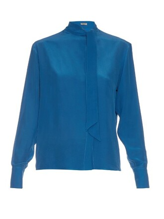 blouse silk blue top
