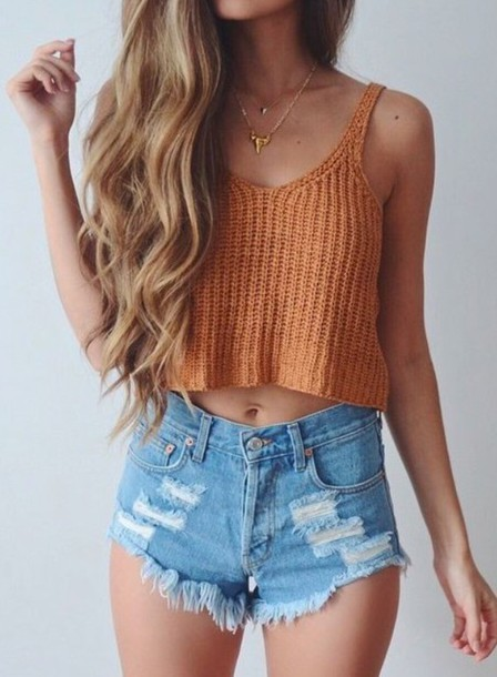 Top Crop Tops Crop Summer Top Crochet Crop Top Orange Shorts