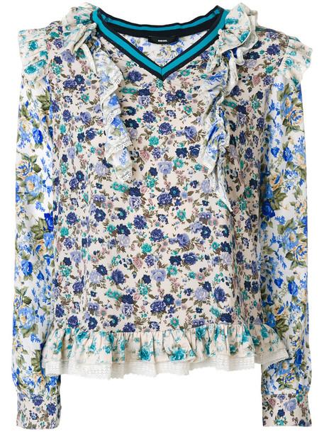 Diesel blouse metallic women floral cotton print top