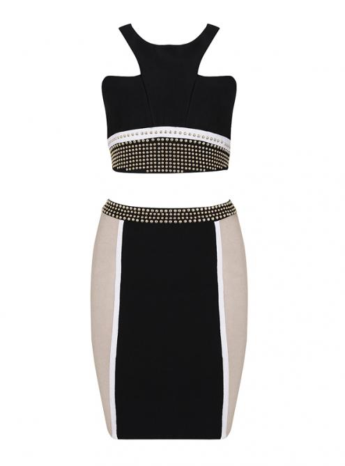 Apricot& Black Beaded Strap 2 Pieces Bandage Dress H763$139