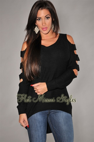 Black Knit Cut-Out Long Sleeves Sweater Top