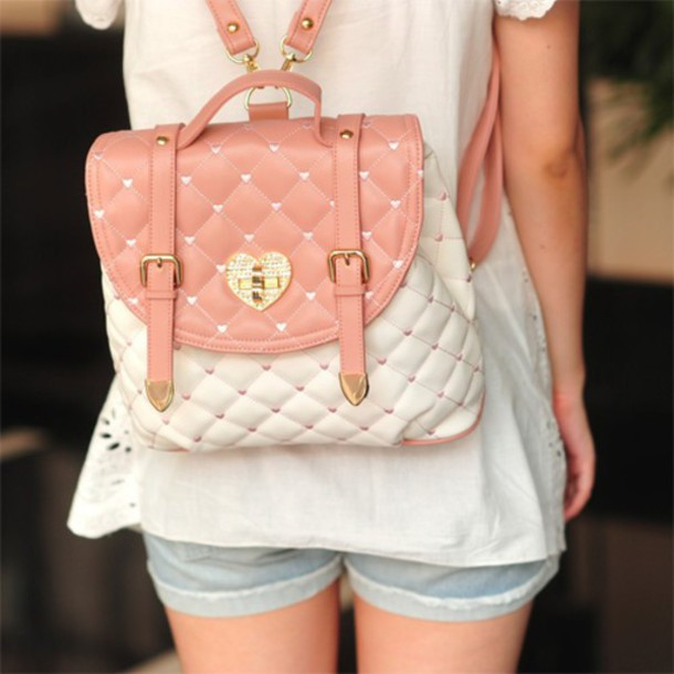 bag ulzzang cute heart pink white satchel bag