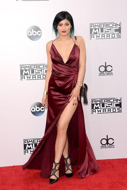 dress burgundy kylie jenner gown sexy dress